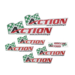 Lot de 8 autocollants Action Karting